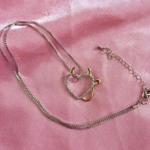 Sexy New Silver Heart Rhinestone Devil Necklace♡